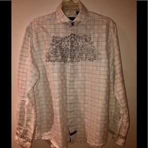English Laundry Embroidered Flip Cuff Paid Shirt M
